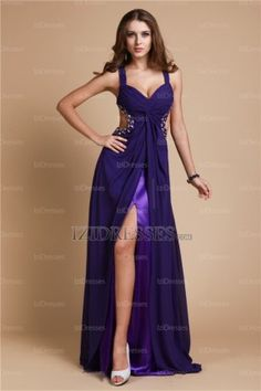 A-Line Sheath/Column Spaghetti Straps Chiffon Evening Dress - IZIDRESSES.COM