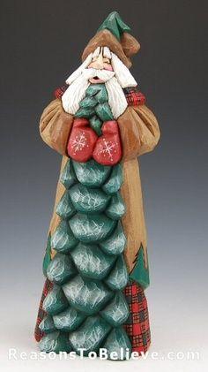 Cypress Knee Art | Hand Painted Original Christmas Santa with Pekingese Gourd…