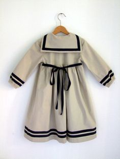 DRESS LÜBECK Beige Sailor Dress With Blue by berlinerkindermoden