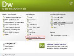 Adobe Dreamweaver start screen.