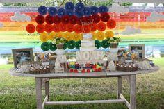 noahs ark 1st birthday party table