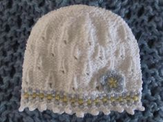 Number 56 KNITTING PATTERN Cotton Lacy Baby Hat with Picot Edging and ...