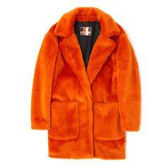 Orange Eco Fur Coat ($645) ❤ liked on Polyvore featuring outerwear, coats, jackets, tops, coats & jacket, msgm, fur coat and orange coat