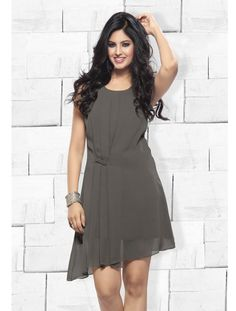 Gorgeous Gray Polyester Georgette Kurti