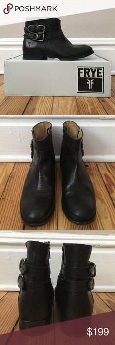 """Frye Molly D Ring Boots Like New Size 8.5 Hey Honey! This sale is for a pair of fabulous Frye Molly D Ring Ankle Boots in Black size 8.5. These boots are in """"like-new"""" condition they were only worn a handful of times and still have that new leather smell. There are some slight scuffs on the bottoms of the shoes from use but the exterior condition is beautiful! Please ask me any and all questions you have because all sales are final. 🚫Trades😊 Frye Shoes Ankle Boots & Booties"""