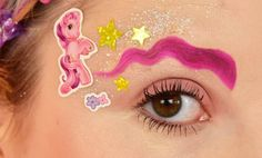 Weird eyebrow trends of crazy makeup and beauty trends of the year like; the squiggle brow, the glitter brow, the rainbow brow, the ponytail brow Eyebrow Trends 2017, Makeup Trends, Beauty Trends, Formula X Nail Polish, Glitter Nail Polish, Crazy Eyebrows, Glitter Brows, Glitter Slides, Red Eyeshadow