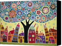 Mixed Media Collage Tree And Houses Painting by Karla Gerard - Mixed Media Collage Tree And Houses Fine Art Prints and Posters for Sale