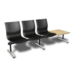 Isis Three Seat Beam Fully Upholstered With Table. Also with 2 seats and without table. #beam #seating