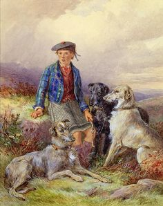 Scottish Boy With Wolfhounds In A Highland Landscape James Jnr Hardy