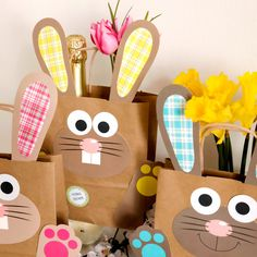 DIY Osterhasen Tüten mit Henkel – bunte Geschenktüten zu Ostern zum selber Befüllen – zum Verpacken von Geschenken für Kinder und Erwachsene