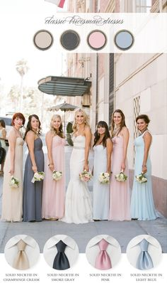 Helpful tips on coordinating The Bridesmaids and Groomsmen with mismatched bridesmaid dresses from bows-n-ties.com