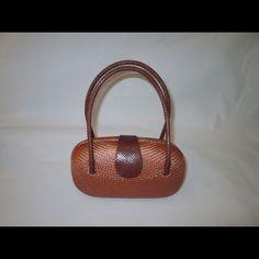 Bahay Bags Brown Woven Buntal Hard Shell Handbag