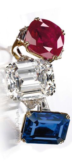 Regilla ⚜ Sapphire and diamond ring by Boucheron, ruby ring by Chaumet