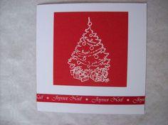 Carte joyeux Noël rouge avec sapin blanc