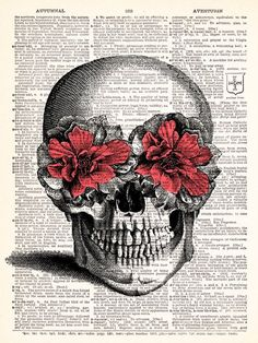 Pink Flower Skull Vintage Dictionary Print Vintage Book Print Page Art Upcycled Vintage Book Art. $8.98, via Etsy.