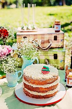 Summer Picnic themed birthday party with So Many Cute Ideas via Kara's Party Ideas | Cake, decor, favors, games, and more! KarasPartyIdeas.com #picnic #picnicparty #partyideas #partyplanning #partydecor #partydesign (15)