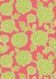 Nikko #wallpaper and coordinating #fabric in Raspberry & Green from the #Resort collection by #Thibaut