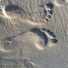 Our footprints at Nags Head beach for my birthday ❤