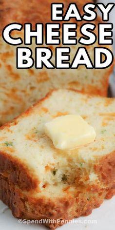 Quick Bread Recipes, Cooking Recipes, Vegan Recipes, Homemade Garlic Bread, Homemade Cornbread, Easy Homemade Bread, Muffins, Bread Ingredients, Easy Cheese