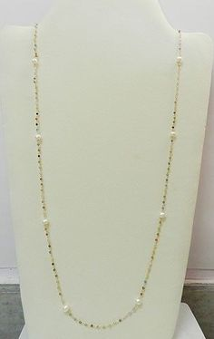 925 Sterling Silver Gold Vermeil Multi Color Bead With Pearl Long Chain Necklace #shilpiimpex #Chain