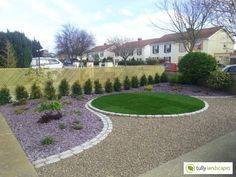 Low maintenance Driveway in Dublin with circular raised lawn. Circular Lawn, Lawn Edging, Lawns, House Front, Patio Ideas, Dublin, Beautiful Images, Stepping Stones, Sidewalk