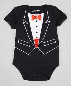 Another great find on #zulily! Wan-A-Beez Black & Red Embroidered Tuxedo Bodysuit - Infant by Wan-A-Beez #zulilyfinds