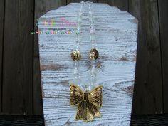 Crystal & Gold Christmas Chunky Bead by LittleDivaBubblegum, $24.00