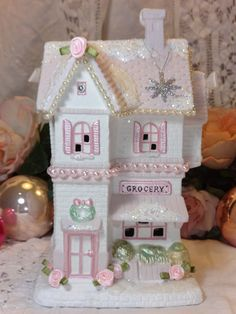CHRISTMAS GROCERY STORE village house hp roses chic shabby vintage ooak pink art  AVAILABLE ON EBAY!  ARTIST D.SOMMERS / sunny-sommers