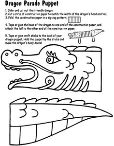 Dragon Parade Puppet coloring page- use for Chinese New Year and encourage the kids to tell a dragon story. Chinese New Year Activities, New Years Activities, Art Activities, Culture Activities, Chinese New Year Crafts For Kids, Holiday Activities, New Year's Crafts, Craft Stick Crafts, Craft Sticks