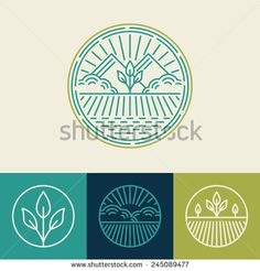 Vector agriculture and organic farm line logos - set of design elements and badges for food industry - Shutterstock Premier