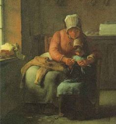 Knitting - a painting by Millet