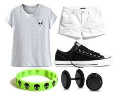 """Alien Week:Friday"" by doodlebob3 ❤ liked on Polyvore featuring H&M, Converse, Bling Jewelry and Chicnova Fashion"
