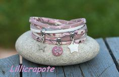 Bracelet lien liberty mitsi 2 tours _ blanc argenté mauve bois de rose _ breloque étoile métal et nacre et sequin : Bracelet par lillicrapote