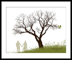Printable DIY Wedding Tree Guestbook Fingerprint Thumbprint Alternative Choose font, color & silhouette. $19.50, via Etsy.  **Want without birds & with doe & buck shilouettes instead of people.