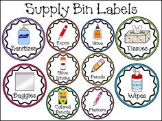 Supply Bin Labels to use when supplies come in in August at meet the teacher Classroom Labels, Classroom Organisation, Teacher Organization, Classroom Design, Teacher Tools, Preschool Classroom, Classroom Management, Teacher Resources, Classroom Ideas