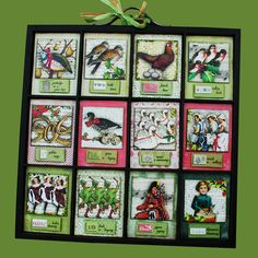 12 Days of Christmas Vintage Decoration Unique Altered Printer's Tray