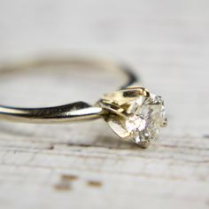 Antique Engagement Ring Diamond & White Gold by LaceOverHeels
