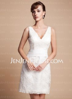 Sheath/Column V-neck Short/Mini Satin Wedding Dress With Lace (002011935)