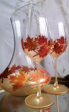 Autumn CRYSTAL SET of 2 Maple Leaves toasting glasses in gold and copper color by PaintedGlassBiliana