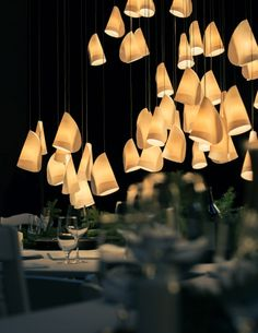 Cluster of porcelain pendant lights