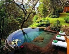 infinity pool -as a hot tub, to be put near my partially underground pond-disguised real pool.