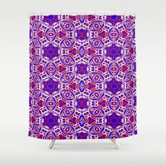 Eye catching Red, White and Blue graphic diamonds designed  shower curtain.
