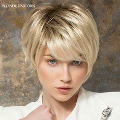 49.00$ Buy here - http://ali484.worldwells.pw/go.php?t=32658429716 - Blonde Unicorn Classic Wig Short Human Hair Wigs For Women Side Parting Human Hair Wigs 15 Colors Available Global Free Shipping