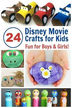 Disney Crafts | 24 of the Cutest Disney Movie Crafts for Family Movie Night - Love it because they have crafts for girls and boys! #DisneyCrafts