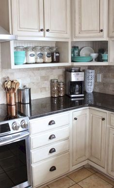Kitchen Makeover Clever small kitchen remodel open shelves ideas - Therefore, it gets really important your kitchen appears fabulous and remodeling your kitchen design is a priority, you must check […] Farmhouse Kitchen Cabinets, Kitchen Paint, Kitchen Redo, Kitchen And Bath, Kitchen Countertops, Kitchen Rustic, Open Cabinet Kitchen, Kitchen Black, Small Farmhouse Kitchen