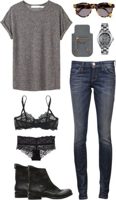 Grey t-shirt, black lacy things and boots, skinny jeans
