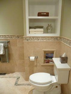 Bathroom Ideas - Half Tiled and Mosaic Boarder