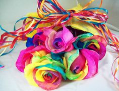 "Tie-dyed Valentine's Day, rainbow roses. ""If I had a flower for every time I thought of you . . . I could walk through my garden forever,"" ~ quote by Alfred Tennyson."