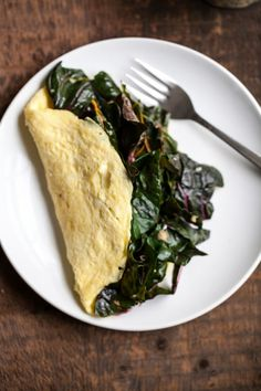Garlicky Greens and Goat Cheese Omelette. Simple, healthy, and so tasty.
