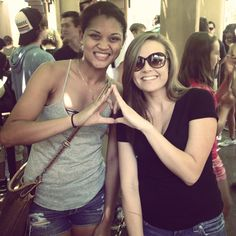 Throw what you know. Phi Sigma Sigma sisters met in Disneyland, CA.